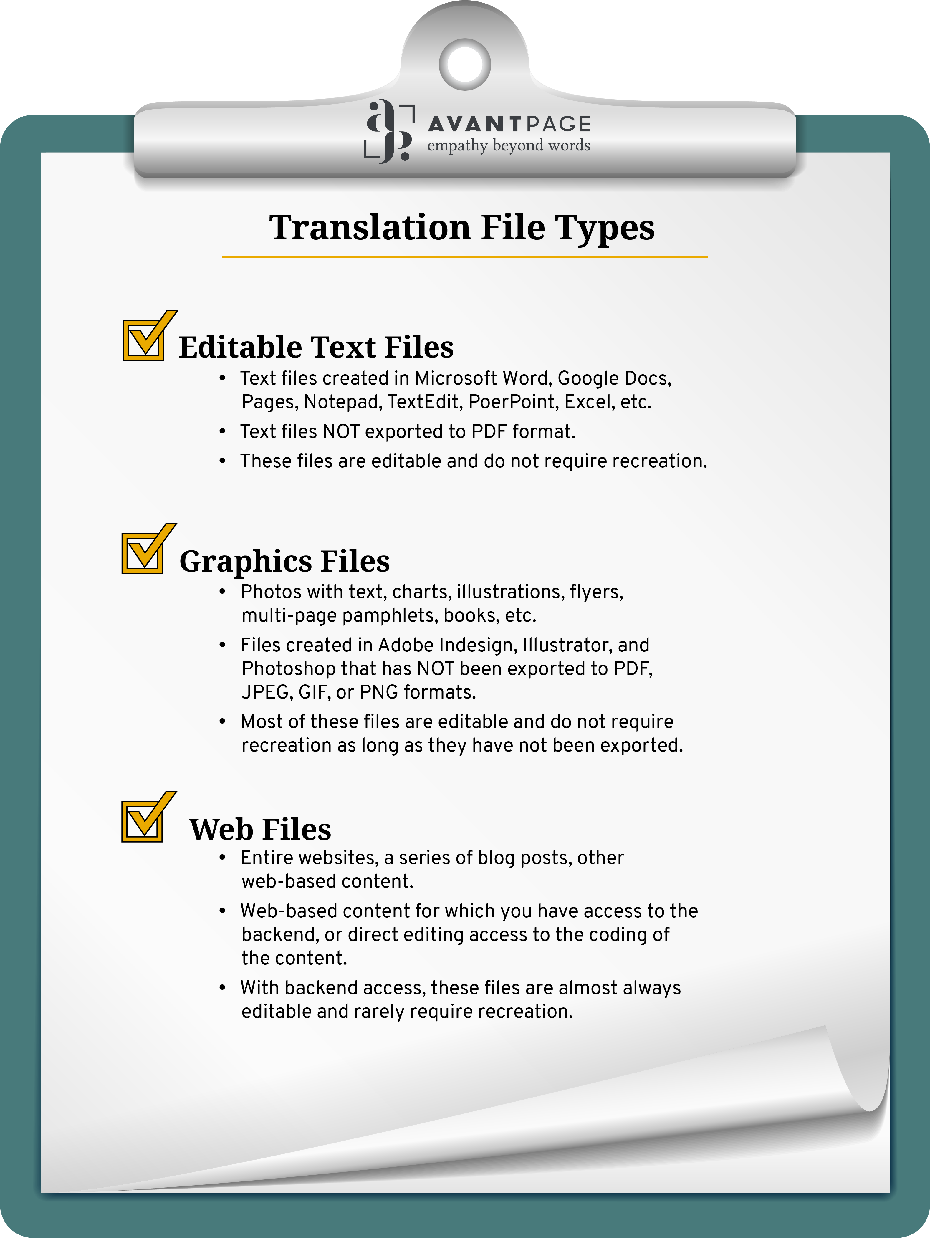 Translation File Types Checklist